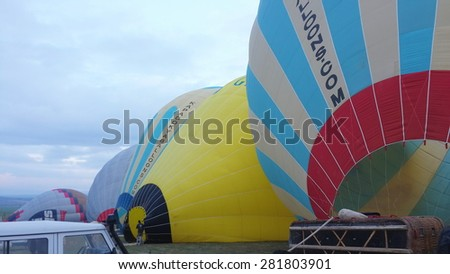 GOREME, TURKEY - APRIL 10: Soft focus of ballons before flying in Goreme, Turkey on April 10, 2015. The hot air balloon is a major tourist attraction for viewing the region's geological landscape.