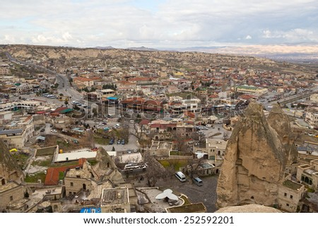 GOREME, TURKEY. JANUARY 3, 2015 - View of the city Goreme from the observation point, Cappadocia, Turkey - stock photo