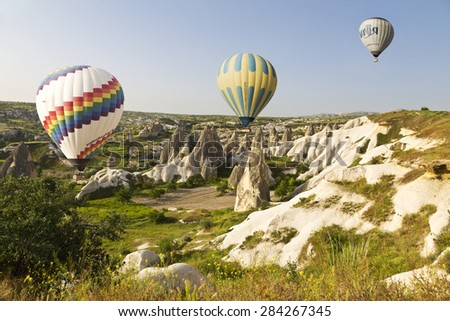 GOREME, TURKEY - MAY 20, 2015: Cappadocia, Turkey.The greatest tourist attraction of Cappadocia. Balloon flight over the rocks of Goremy