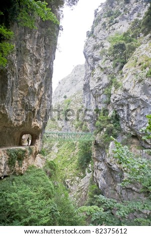 Gorge of River Cares in Asturias Spain - stock photo