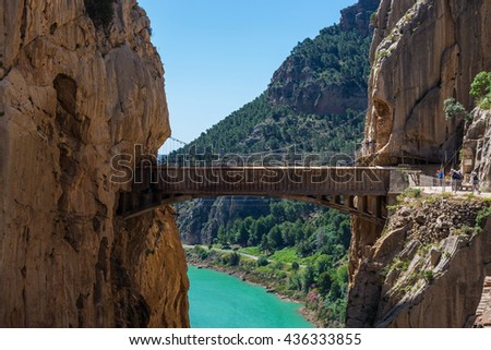 "Gorge of the Gaitanes and ""El Caminito del Rey"" path, Malaga (Spain) - stock photo"