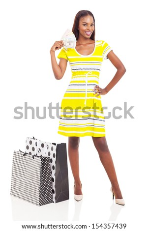 gorgeous african woman with money to spend isolated on white background - stock photo