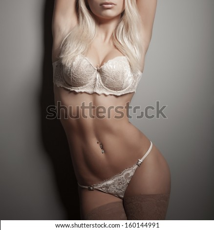 Gorgeous and beautiful sexy woman in lingerie - stock photo