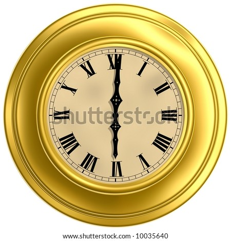 Gorgeous antique clock isolated on white