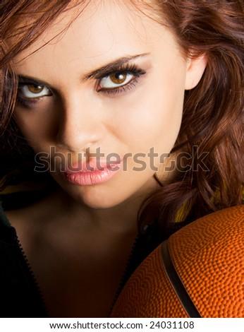 Gorgeous basketball player - stock photo