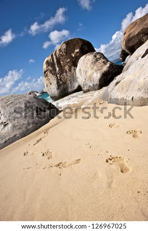 Gorgeous beach in the British Virgin Islands , Tortola - stock photo