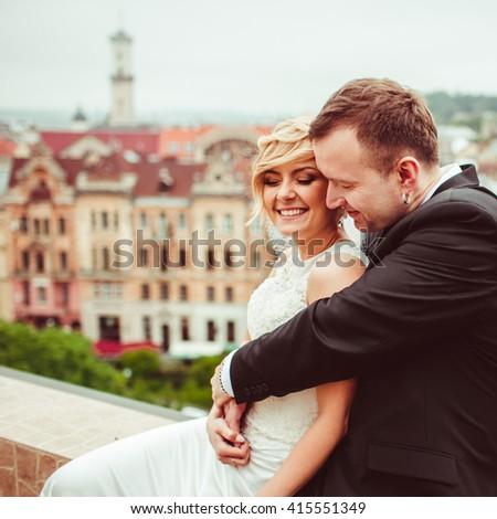 gorgeous beautiful couple doing a photo shoot - stock photo