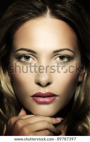 Gorgeous beautiful portrait of a young woman - stock photo