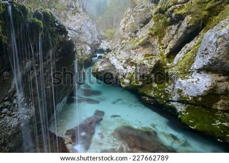 Gorgeous big Soca troughs, Triglav national park, Slovenia - stock photo