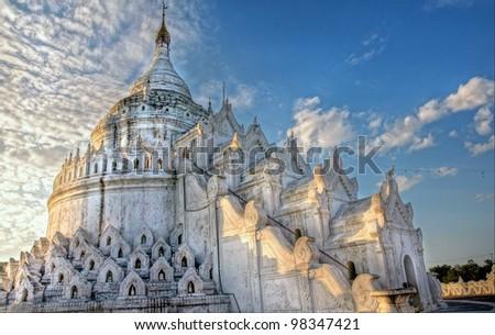 gorgeous big  white stupa / temple in asia - stock photo