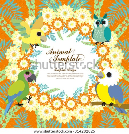 gorgeous birds template with colorful floral background