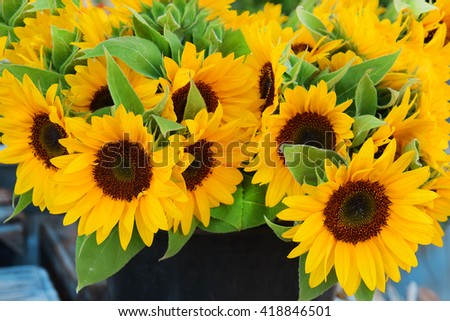 gorgeous bouquet with decorative sunflowers
