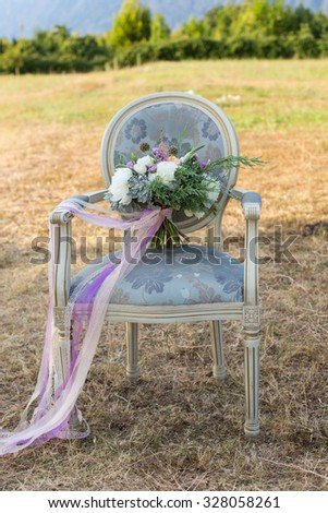gorgeous bridal bouquet with white peonies peach rose and thuja - stock photo