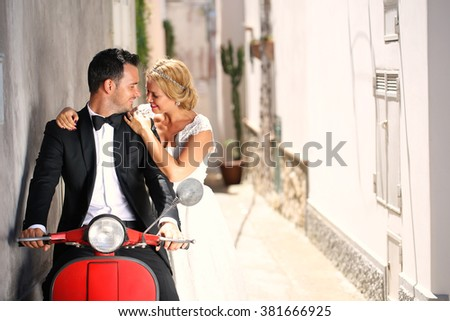 Gorgeous bride and groom - stock photo
