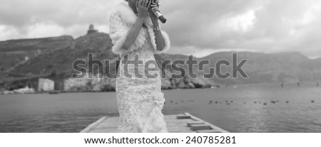 gorgeous bride at the pier - stock photo