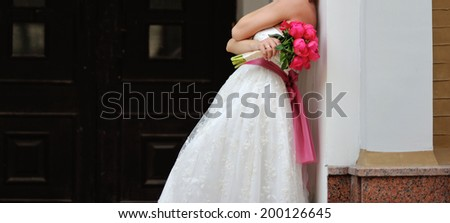 Gorgeous bride in beautiful dress. Wedding picture.