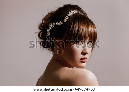 Gorgeous bride portrait with beautiful hair - stock photo