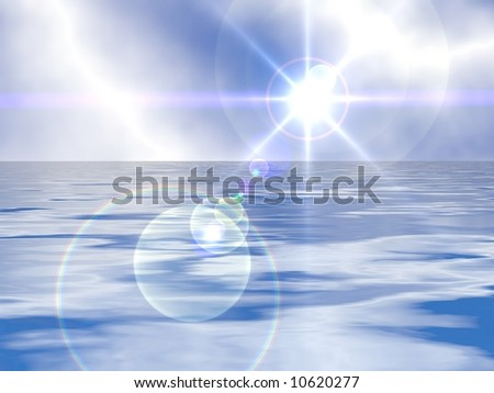 Gorgeous bright sun blue sky and water - stock photo