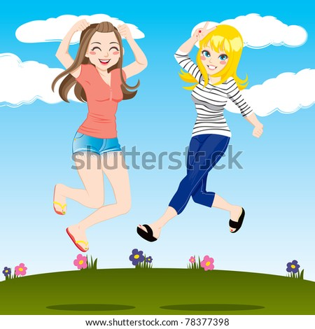 Gorgeous brunette and blonde women friends jumping high outdoors smiling happy - stock photo