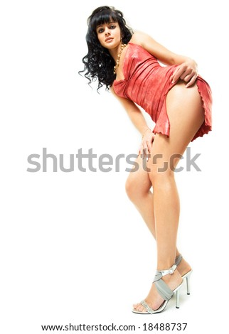 gorgeous brunette posing, space for copy - stock photo