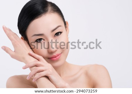 Gorgeous brunette with perfect skin: beauty and skincare concept - stock photo