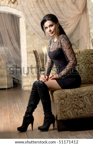 Gorgeous brunette woman - stock photo