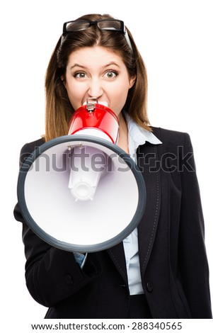Gorgeous Business Woman shouting on a megaphone isolated on white.  - stock photo
