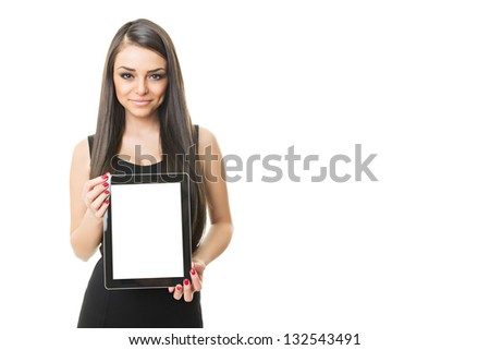 Gorgeous businesswoman showing blank tablet screen - stock photo