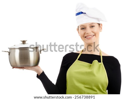 Gorgeous caucasian woman cook with a stainless steel pot, isolated on white background - stock photo
