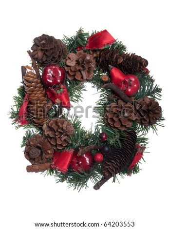 gorgeous Christmas wreath decoration isolated on white background - stock photo