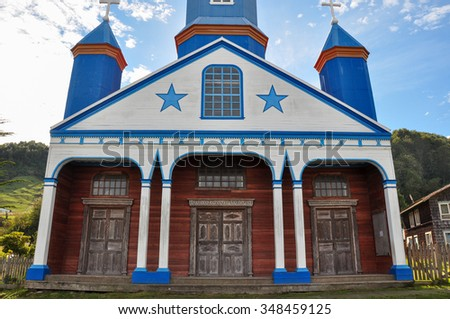 Gorgeous Colored and Wooden Churches, Chiloe Island, Chile. - stock photo