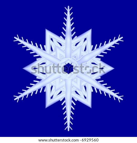 Gorgeous 3d snowflake isolated on blue - stock photo