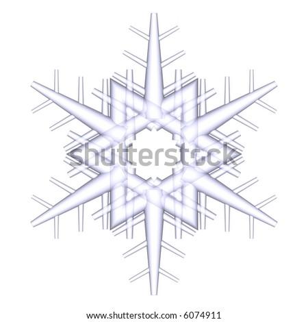 Gorgeous 3d snowflake isolated on white - stock photo