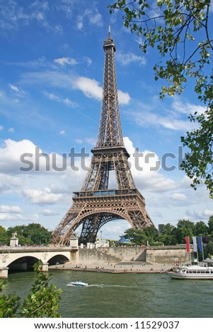 Gorgeous Eiffel Tower over the river Sene. Paris, France - stock photo