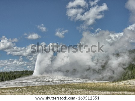 Gorgeous eruption of Old Faithful, Yellowstone National Park.