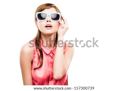 Gorgeous Fashion Model  isolated on white  - stock photo