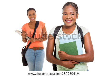 gorgeous female afro american college student holding books