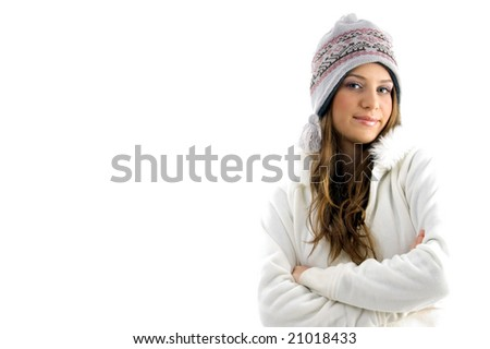 gorgeous female looking at camera against white background - stock photo
