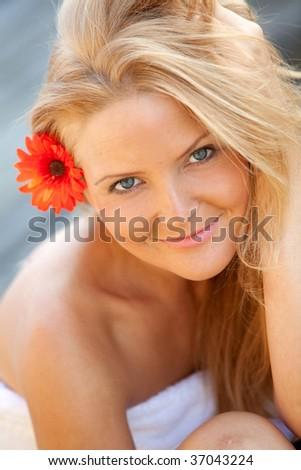 Gorgeous female portrait smiling -beauty concepts - stock photo