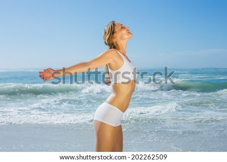 Gorgeous fit blonde standing by the sea with arms out on a sunny day - stock photo