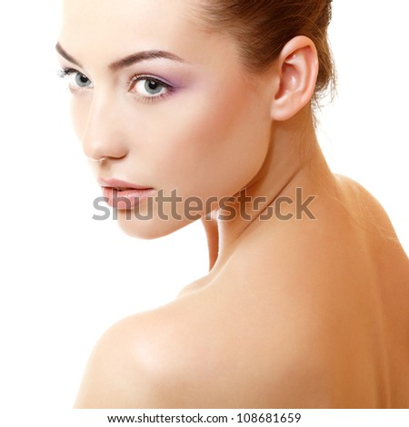gorgeous girl's face closeup, isolated on white background - stock photo
