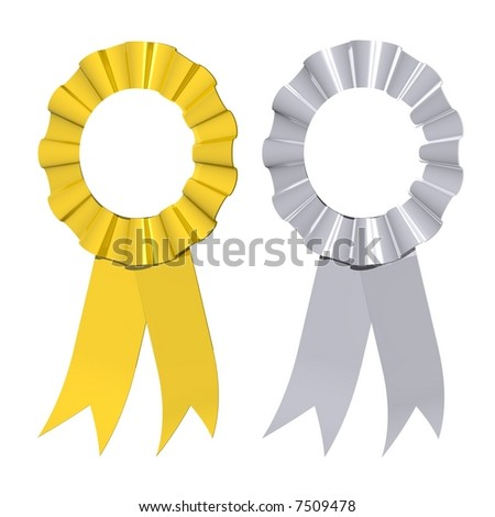 Gorgeous gold and silver award ribbons isolated on white - stock photo