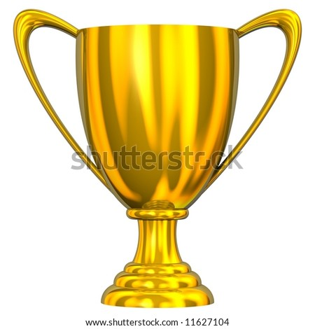 Gorgeous gold trophy cup isolated on white - stock photo