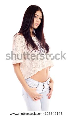 Gorgeous hispanic young woman closeup, isolated on white background - stock photo