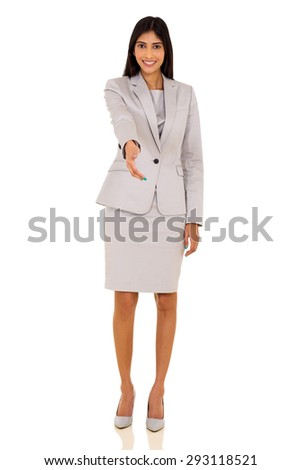 gorgeous indian businesswoman offering handshake isolated on white - stock photo