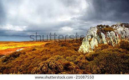 Gorgeous landscape on a stormy day - stock photo