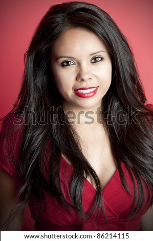 Gorgeous Latina Model with long black hair headshot - stock photo