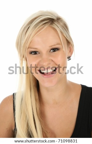Gorgeous laughing blonde woman in black top - stock photo