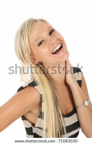 Gorgeous laughing blonde woman in striped top - stock photo