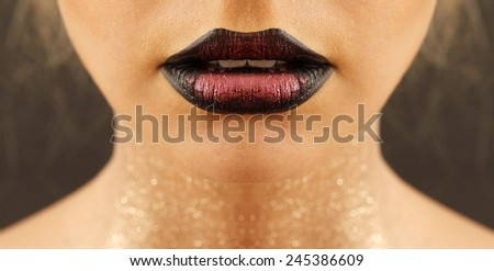 Gorgeous lips with professional makeup